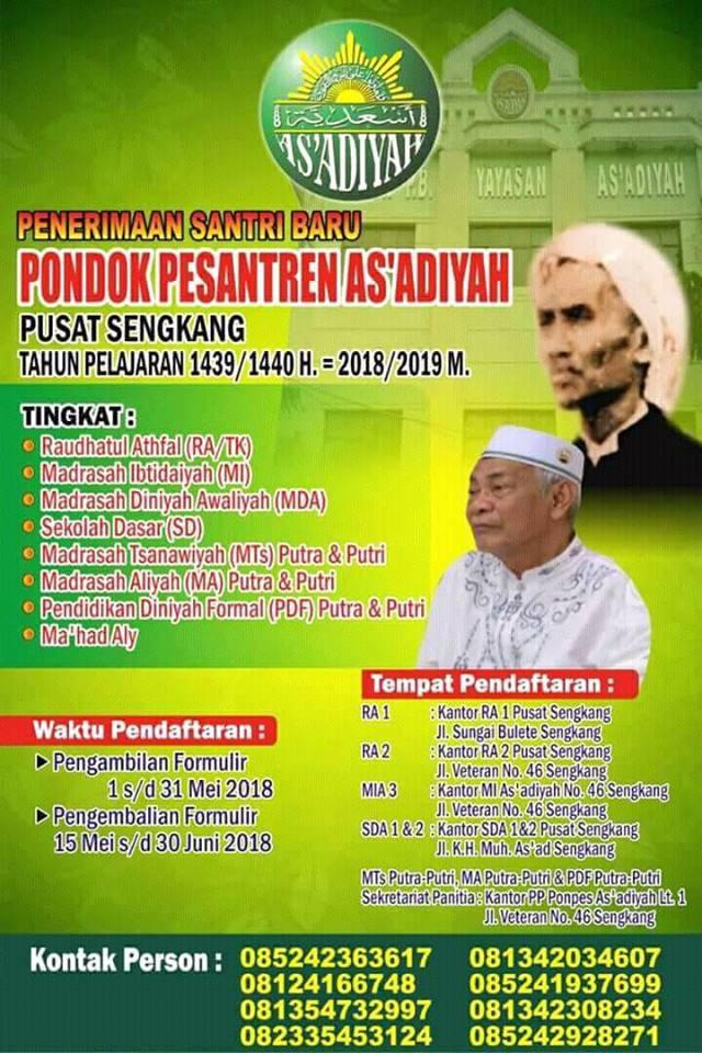Info Penerimaan Santri Baru As'adiyah Tahun 2018/2019